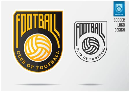 Soccer logo or Football Badge template design for football team. Sport emblem design of gold soccer ball on black  shield. Football club logo in black and white icon. Vector Illustration.