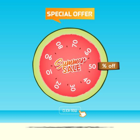 Summer sale banner template design. Special offer  up to 10-90% off banner for summer season. A half of watermelon in flat design. Summer sale typography on sea background. Vector Illustration.