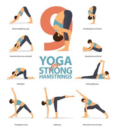 Infografik von 9 Yoga-Posen für starke Kniesehnen im flachen Design. Schönheitsfrau macht Übung für Hüftstärke. Satz von Yoga-Haltungen weibliche Figuren Infografik. Vektor-Illustration.
