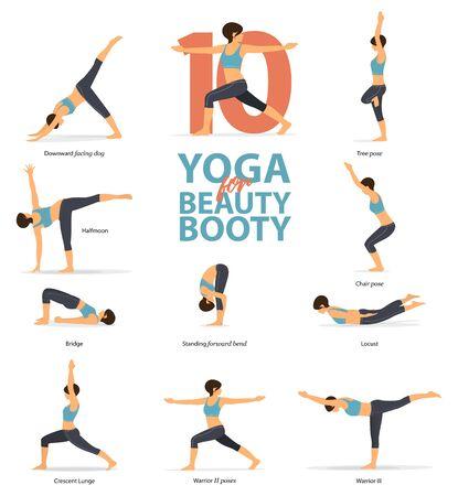 Infografía de 10 posturas de yoga para botín de belleza en diseño plano. Mujer de belleza está haciendo ejercicio para botín blaster. Conjunto de posturas de yoga figuras femeninas infografía. Ilustración de vector.