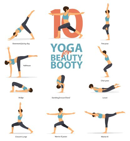 Infografik von 10 Yoga-Posen für Schönheitsbeute im flachen Design. Schönheitsfrau tut Übung für Beuteblaster. Satz von Yoga-Haltungen weibliche Figuren Infografik. Vektor-Illustration.