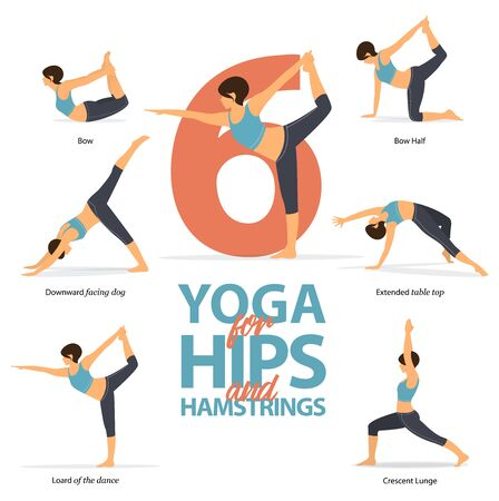 Infographic of 6 Yoga poses for strong hamstrings in flat design. Beauty woman is doing exercise for hip strength. Set of yoga postures female figures Infographic . Vector Illustration.