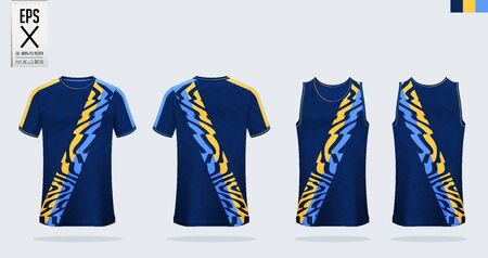 T-shirt sport mockup template design for soccer jersey, football kit, tank top for basketball jersey and running singlet. Sport uniform in front and back view.  Vector Illustration. Illustration