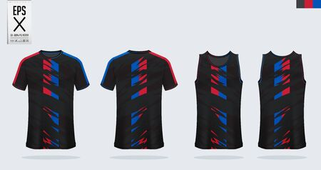 T-shirt sport mockup template design for soccer jersey, football kit, tank top for basketball jersey and running singlet. Sport uniform in front and back view.  Vector Illustration. Иллюстрация