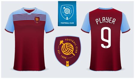 Soccer jersey or football kit mockup template design for sport club. Football t-shirt sport mock up. Soccer uniform in front view and back view. Flat football logo design. Vector Illustration.