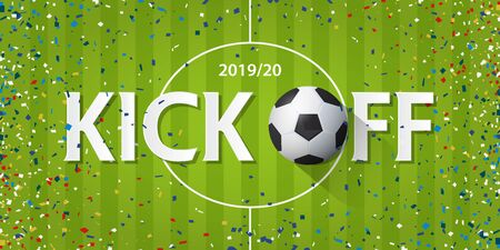 Soccer or football kick off  banner with soccer ball and paper confetti on soccer field background. Banner template design in Soccer or football opening season concept. Vector illustration.
