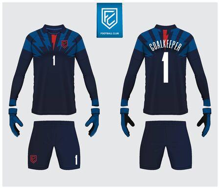 Goalkeeper jersey or soccer kit mockup. Goalkeeper glove and long sleeve jersey  template design. Sport t-shirt mock up. Front and back view soccer uniform. Flat football logo label. Vector Illustration.