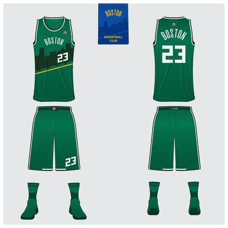 Boston basketball uniform mockup template design for basketball club. Tank top t-shirt mockup for basketball jersey. Front view, back view basketball shirt. Flat sport logo design. Vector Illustration.