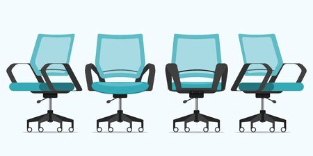 Office chair or desk chair in various points of view. Armchair or stool in front view, rear view, side view. Furniture icon  for Interior design  in flat design. Vector illustration.