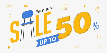 Interior banner sale with chair icon. Furniture sale banner template design for interior discount sale.  Home furniture of living room brochure. Vector illustration.  イラスト・ベクター素材