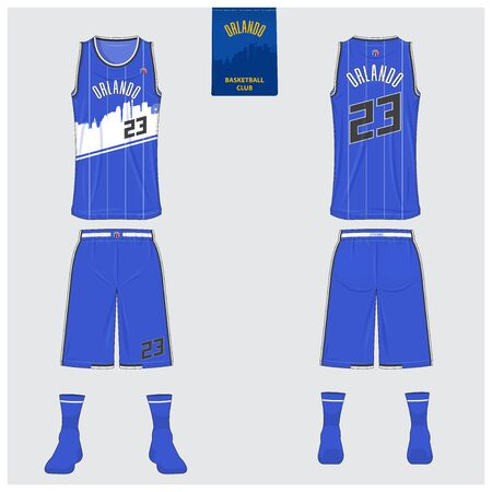 Orlando basketball uniform mockup template design for basketball club. Tank top t-shirt mockup for basketball jersey. Front view, back view basketball shirt. Flat sport logo design. Vector Illustration. 矢量图像
