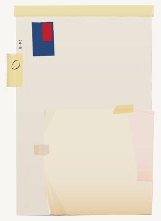 Papel blanco doblado, papel viejo sucio, hojas de papel raídas, cuadriculado en blanco, páginas de bloc de notas con líneas, alfiler, cinta adhesiva y cinta adhesiva. Fondo abstracto. Ilustración vectorial Ilustración de vector