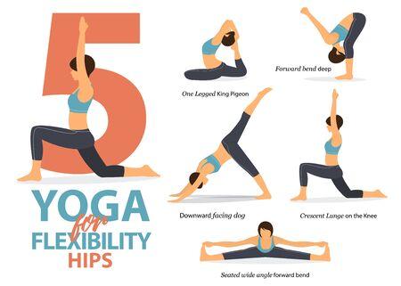 Infografía de 5 posturas de yoga para flexibilidad de cadera en diseño plano. Mujer de belleza está haciendo ejercicio para estirar el cuerpo. Conjunto de infografía de secuencia de yoga. Ilustración de vector.