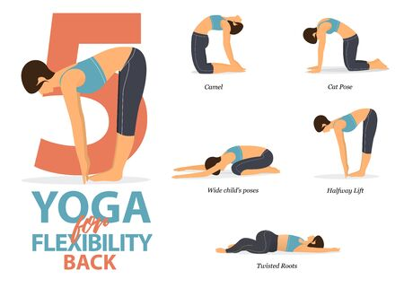 Infographic of 5 Yoga poses for back flexibility in flat design. Beauty woman is doing exercise for body stretching. Set of yoga sequence Infographic.  Vector Illustration.