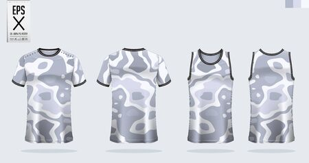 T-shirt sport mockup template design for soccer jersey, football kit. Tank top for basketball jersey and running singlet. Sport uniform in front view and back view.  Vector art Illustration.