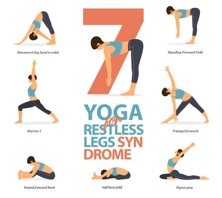 Infographic of 7 Yoga poses for restless legs syndrome in flat design. Beauty woman is doing exercise for body stretching. Set of yoga sequence Infographic.  Cartoon Vector art and Illustration.
