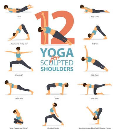 Infographic of 12 Yoga poses for sculpted shoulders in flat design. Beauty woman is doing exercise for body stretching. Set of yoga sequence Infographic. Cartoon Vector art and Illustration.