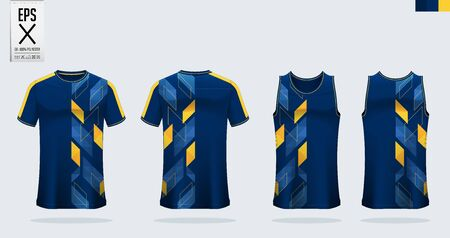 T-shirt sport mockup template design for soccer jersey, football kit. Tank top for basketball jersey and running singlet. Sport uniform in front view and back view.  Shirt Mockup Vector  Illustration.