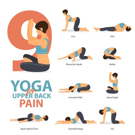 Infographic of 9 Yoga poses for upper back pains in flat design. Beauty woman is doing exercise for body stretching. Set of yoga sequence Infographic. Yoga Cartoon Vector art and Illustration.