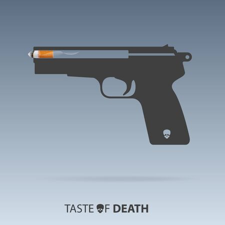 May 31st World No Tobacco Day infographic. No Smoking Day poster. Stop smoking awareness campaign. Cigarette bullet and gun concept. Vector Illustration. Vettoriali
