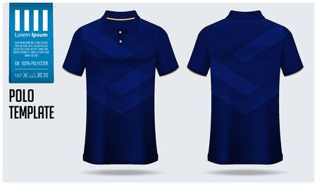 Polo t-shirt mockup template design for soccer jersey, football kit or sportswear. Sport uniform in front view and back view. T-shirt mock up for sport club. Fabric pattern. Vector Illustration.