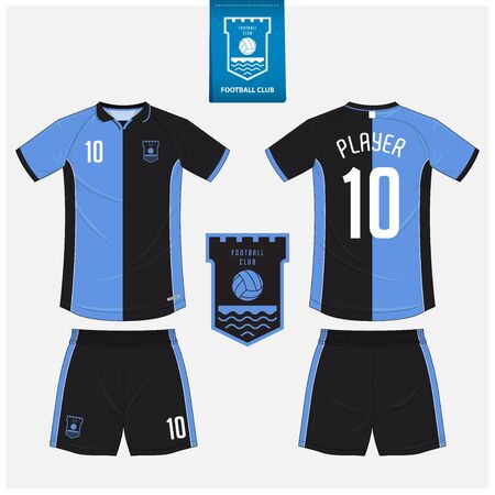 Soccer jersey or football kit mockup template design for sport club. Football t-shirt sport, shorts mock up. Soccer uniform in front view, back view . Football in flat design. Vector Illustration.