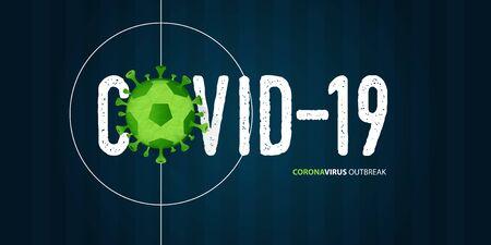 Coronavirus or covid-19 banner in football or soccer for coronavirus outbreak of a pandemic disease concept. Banner template design for headline news. The crisis of covid-19 disease on sports. Vector illustration. Vettoriali