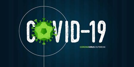 Coronavirus or covid-19 banner in football or soccer for coronavirus outbreak of a pandemic disease concept. Banner template design for headline news. The crisis of covid-19 disease on sports. Vector illustration.