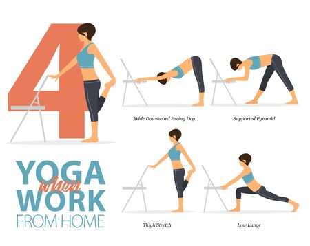 Infographic of 4 Yoga poses for office syndrome or work from home in flat design. Beauty woman is doing exercise for strength on office chair. Set of yoga postures female figures Infographic . Vector Illustration.