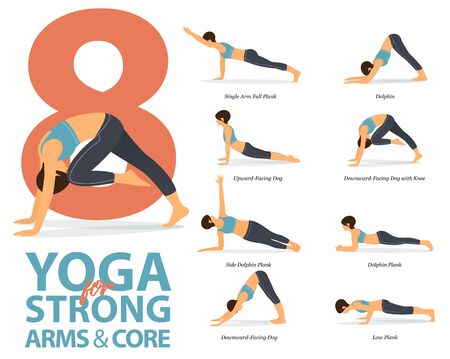Infographic of 8 Yoga poses for Strong arms and core in flat design. Beauty woman is doing exercise for body stretching. Set of yoga at home infographic . Vector Illustration. Illustration
