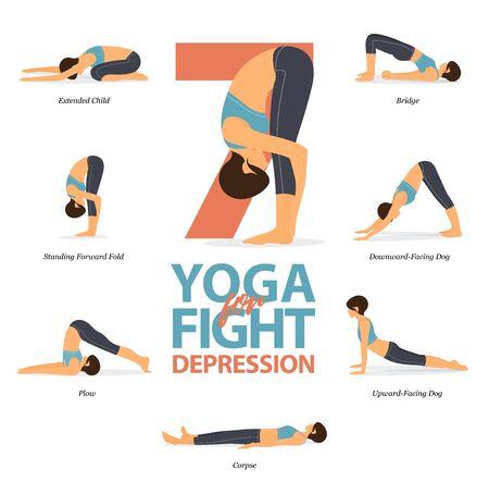 Infographie de 7 poses de yoga pour le yoga facile à la maison dans le concept de lutte contre la dépression au design plat. La femme de beauté fait de l'exercice pour l'étirement du corps. Ensemble d'infographie de yoga à la maison. Illustration et art de vecteur de dessin animé de yoga.