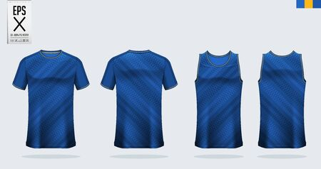 T-shirt mockup, sport shirt template design for soccer jersey, football kit. Tank top for basketball jersey and running singlet. Sport uniform in front view and back view.  Mock up Vector Illustration.