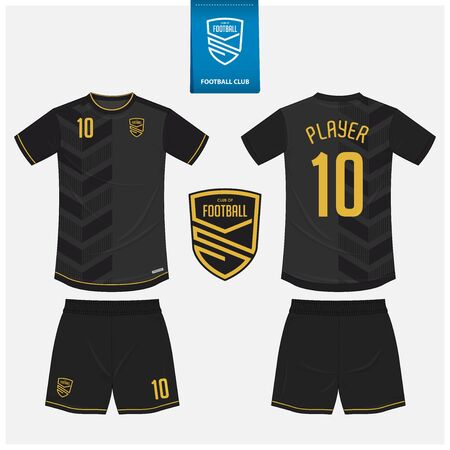 Soccer jersey or football kit mockup template design for sport club. Football t-shirt sport, shorts mockup. Soccer uniform in front view, back view . Football logo in flat design. Vector Illustration.
