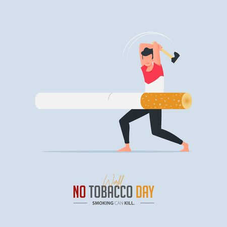 May 31st World No Tobacco Day poster design. A man using an ax to cut the cigarette defines to a man is fighting to quit smoking. Stop smoking poster for awareness campaign. No smoking banner. Cartoon Vector Illustration.