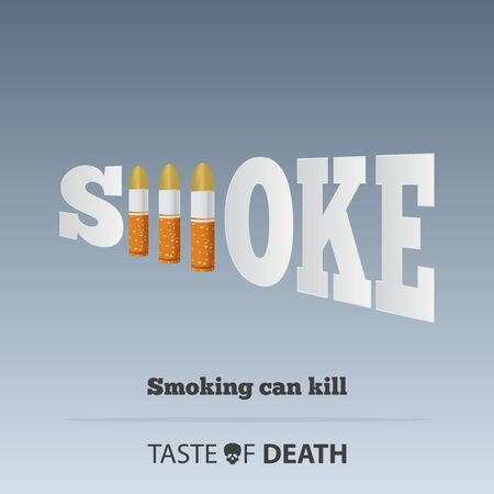 May 31st World No Tobacco Day concept design. No Smoking Day poster. Stop smoking awareness infographic. Cigarette bullet defines to the dangers of smoking or cigarette poisoning. Poster or Banner Vector Illustration. Illustration