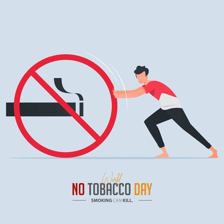 May 31st World No Tobacco Day poster design. A man pushing stop smoking sign defines to a man is fighting to quit smoking. No smoking banner. Cartoon Vector Illustration.