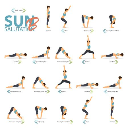 Infographic of 6 Yoga poses for Yoga at home in concept of Yoga Sun Salutation B in flat design. Woman exercising for body stretching. Set of yoga posture or asana infographic. Yoga Vector Flat Cartoon Illustration.