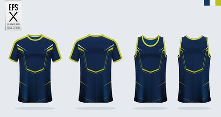 T-shirt mockup, sport shirt template design for soccer jersey, football kit. Tank top for basketball jersey or running singlet. Blue, Green Sport uniform in front view, back view. Shirt mock up Vector Illustration.