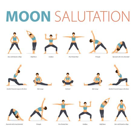 Infographic of Yoga poses for Yoga at home in concept of Yoga Moon Salutation in flat design. Woman exercising for body stretching. Set of yoga posture or asana infographic. Yoga Vector Flat Cartoon Illustration.