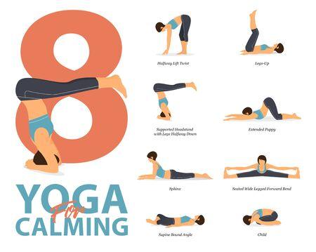 Infographie de 8 poses de yoga pour l'entraînement à la maison dans le concept de yoga pour se calmer dans un design plat. Femme exerçant pour l'étirement du corps. Posture de yoga ou asana pour l'infographie de remise en forme. Illustration vectorielle de dessin animé plat.