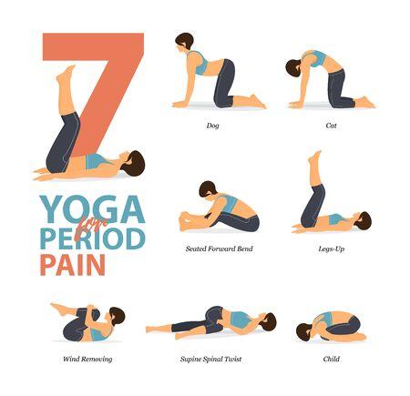Infografik von 7 Yoga-Posen für das Training zu Hause im Konzept des Yoga für Periodenschmerzen flaches Design. Frau, die für die Körperausdehnung trainiert. Yoga-Haltung oder Asana für Fitness-Infografik. Flache Karikatur-Vektor-Illustration.