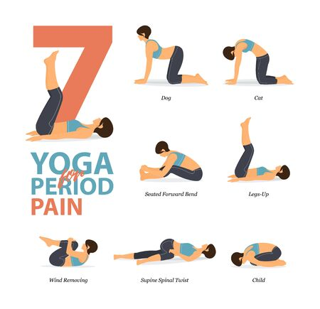 Infographic of 7 Yoga poses for workout at home in concept of yoga for period pain flat design. Woman exercising for body stretching. Yoga posture or asana for fitness infographic. Flat Cartoon Vector Illustration.