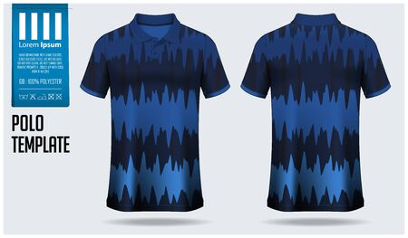 Polo shirt mockup template design for soccer jersey, football kit, sportswear. Sport uniform in front view, back view. T-shirt mock up for sport club. Fabric pattern. Shirt Mockup Vector Illustration.