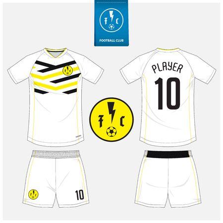 Soccer jersey or football kit mockup template design for sport club. Football shirt, shorts mock up. Soccer uniform in front view, back view. Soccer logo in flat design. Vector Illustration.