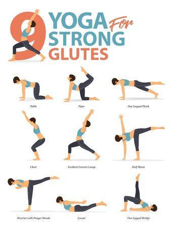 Infographic of 9 Yoga poses for workout at home in concept of yoga for strong glutes in flat design. Woman exercising for body stretching. Yoga posture or asana for fitness infographic. Flat Cartoon Vector Illustration.
