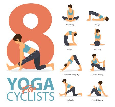 Infographic of 8 Yoga poses for workout at home in concept of yoga for cyclists in flat design. Woman exercising for body stretching. Yoga posture or asana for fitness infographic. Flat Cartoon Vector Illustration.