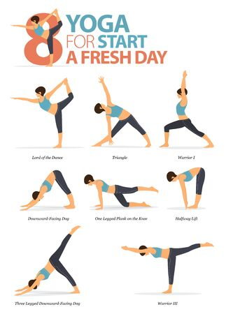 Infographic of  8 Yoga poses for workout at home in concept of yoga for start a fresh day in flat design. Woman exercising for body stretching. Yoga posture or asana for fitness infographic. Flat Cartoon Vector Illustration.