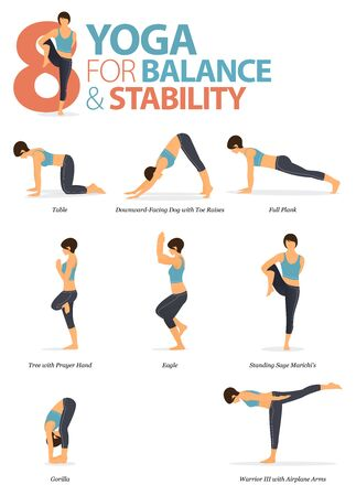 Infographic of  8 Yoga poses for workout at home in concept of yoga for Balance and Stability in flat design. Woman exercising for body stretching. Yoga posture or asana for fitness infographic. Flat Cartoon Vector Illustration.