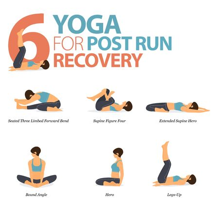 Infographic of 6 Yoga poses for workout at home in concept of yoga for Post Run Recovery in flat design. Woman exercising for body stretching. Yoga posture or asana for fitness infographic. Flat Cartoon Vector Illustration.