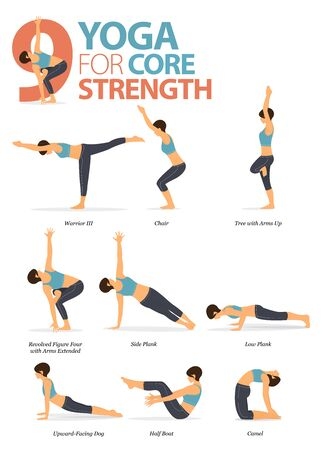Infographic of 9 Yoga poses for workout at home in concept of yoga for Core and Strength in flat design. Woman exercising for body stretching. Yoga posture or asana for fitness infographic. Flat Cartoon Vector Illustration.